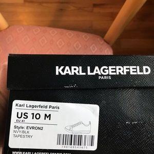 Karl Lagerfeld Shoes - Karl Lagerfeld Damask Navy Blue Patterned Sneakers